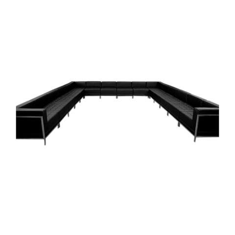 Offex 16 Piece Contemporary Black Leather U-Shape Reception Area Sectional Configuration [OFX-274388-FF]