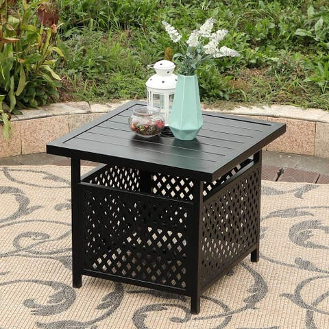 Claribelle Square Side Table with Umbrella Hole by Havenside Home - 22*22