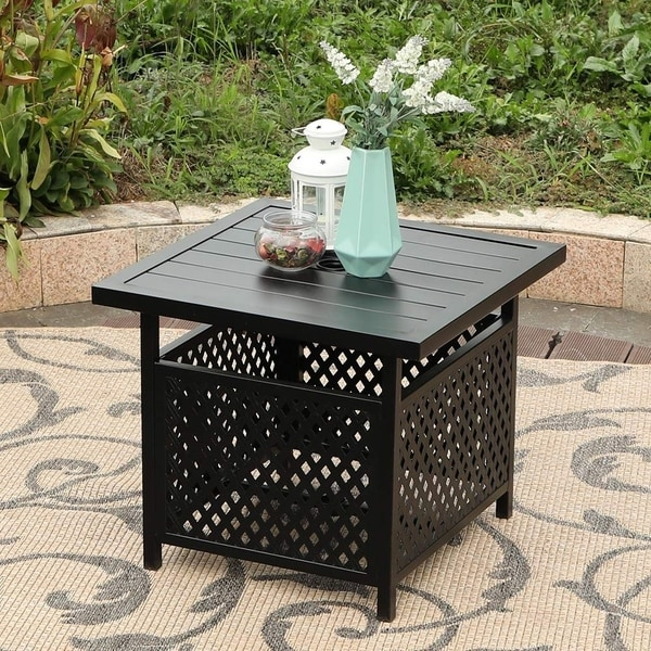 Havenside Home Claribelle Square Side Table with Umbrella Hole - 22*22