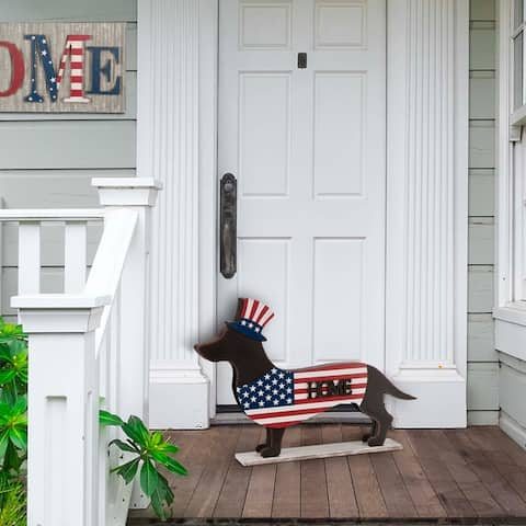Glitzhome Wooden/Metal Patriotic Double Sided Dachshund Porch Sign