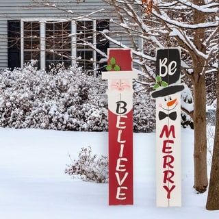 """Glitzhome 42""""H Christmas Wooden Word Porch Sign"""