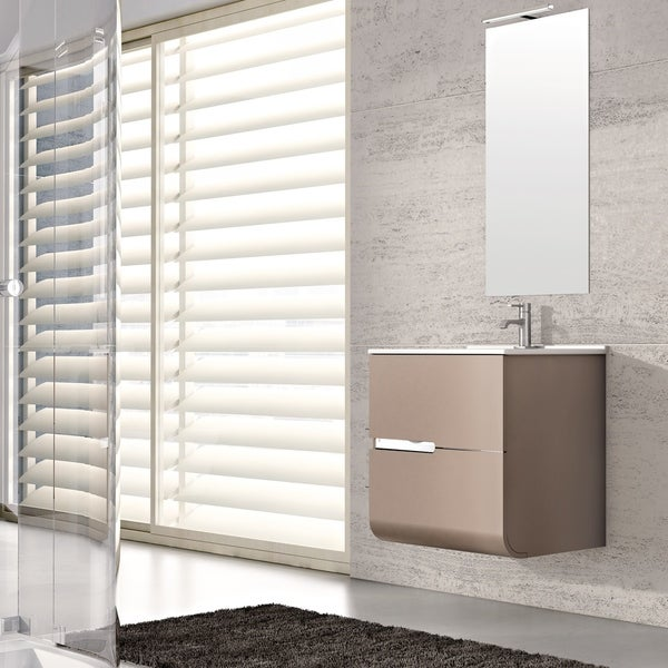 """Eviva Ways 24"""" wall mount bathroom vanity in Mocha"""