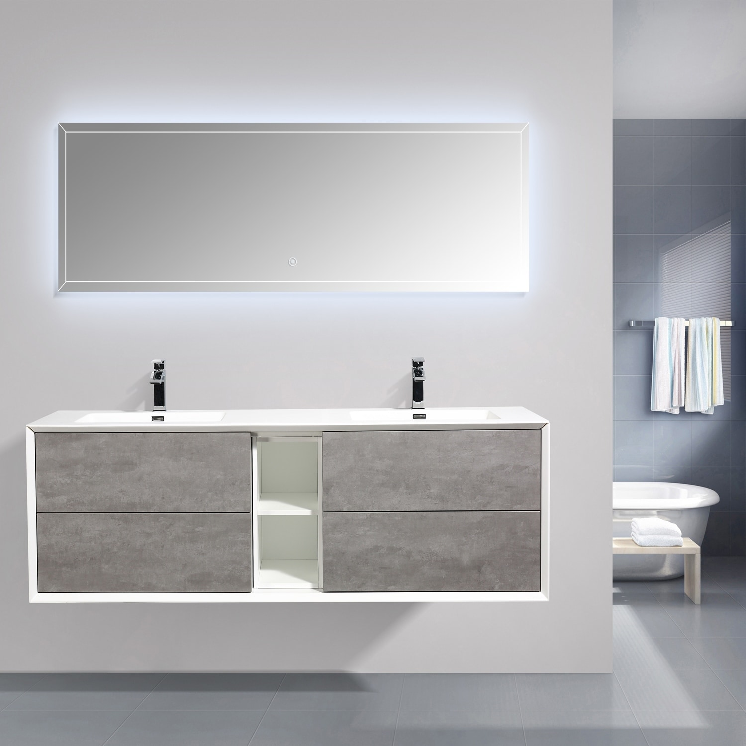 Eviva Vienna 75 Inch Cement Gray With White Frame Wall Mount Double Sink Bathroom Vanity With White Integrated Acrylic Top Overstock 28881828