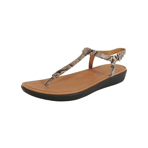 Fitflop Womens Tia Toe Thong Snake Effect Leather Sandals