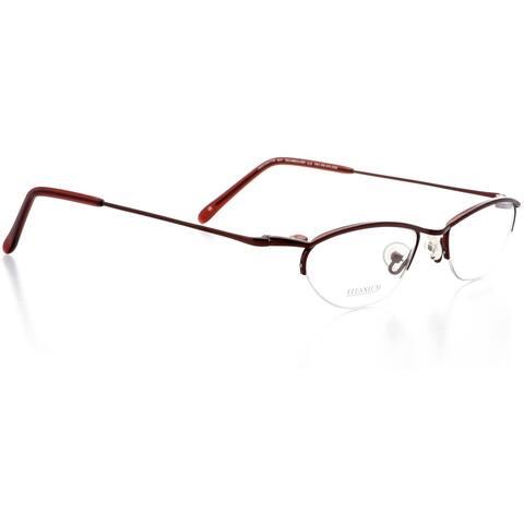 Optical Eyewear - Oval Shape, Titanium Half Rim Frame - Prescription Eyeglasses RX - Wine