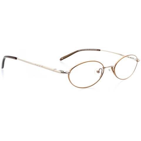 Optical Eyewear - Oval Shape, Titanium Full Rim Frame - Prescription Eyeglasses RX - Shiny Silver Shiny Copper