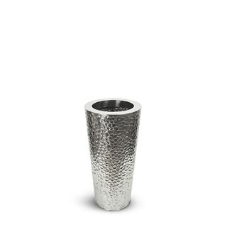 Silver Orchid Polo Cone Stainless Steel Hammered Vase
