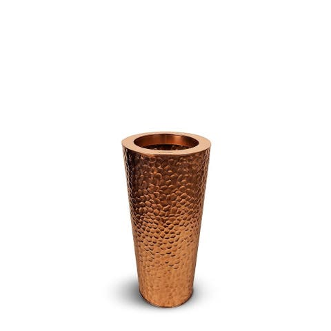 Coppa Martello Stainless Steel Cone Hammered Copper Planter