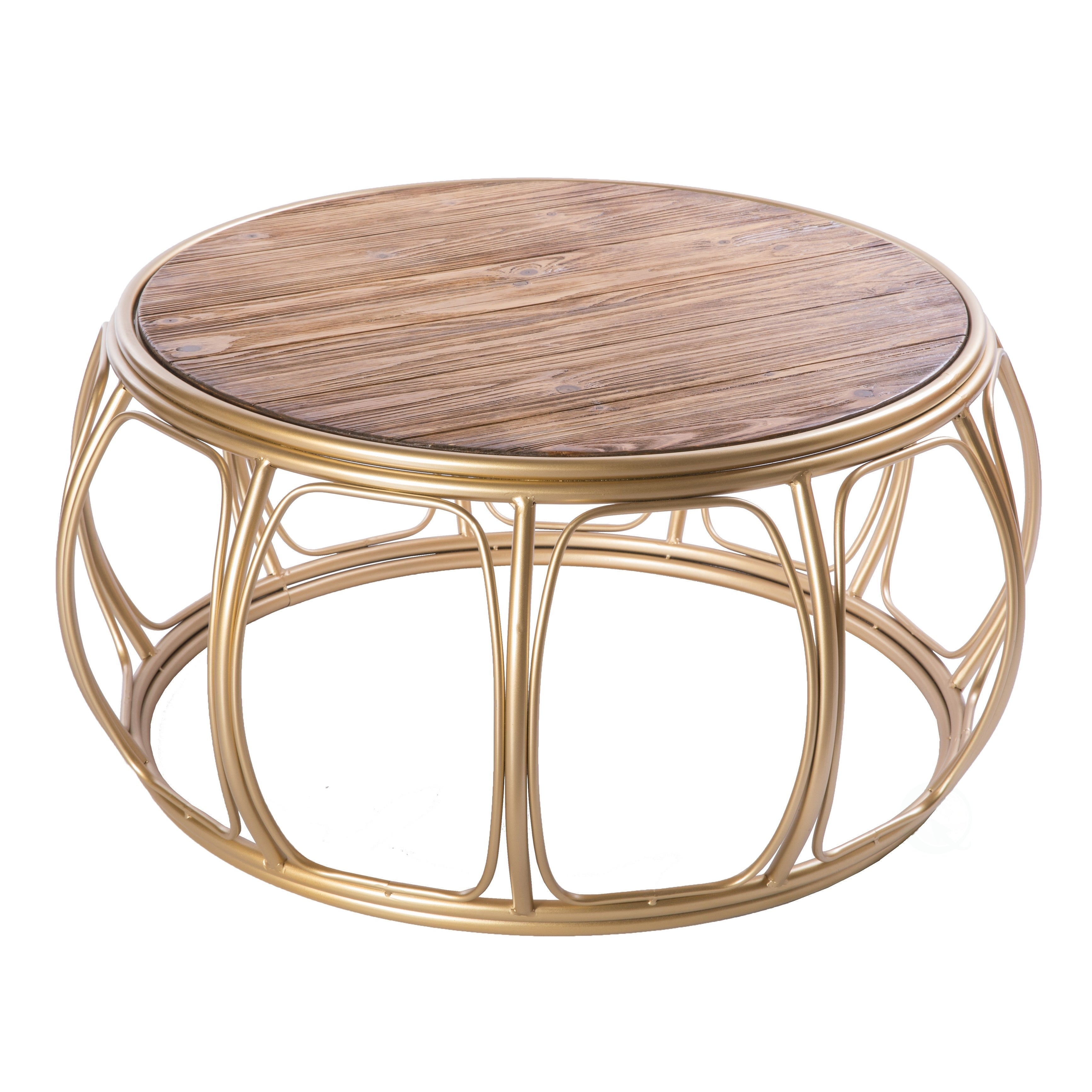 - Shop Large Round Wood And Metal Coffee Table - Overstock - 28889314
