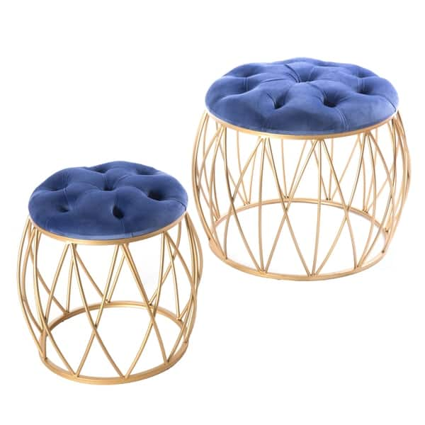 Cool Shop Round Tufted Blue Velvet Gold Metal Stool Set Of 2 Pdpeps Interior Chair Design Pdpepsorg