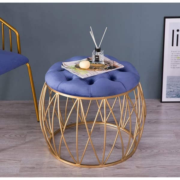 Awe Inspiring Shop Round Tufted Blue Velvet Gold Metal Stool Set Of 2 Caraccident5 Cool Chair Designs And Ideas Caraccident5Info