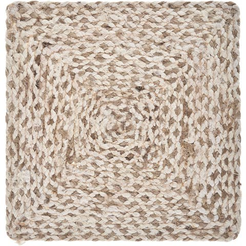 "Woven Bleach and Natural Jute Square Place Mat - 1'3"" x 1'3"""