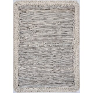 "Bordered Light Gray Place Mat - 1'-1"" X 1'-7"""