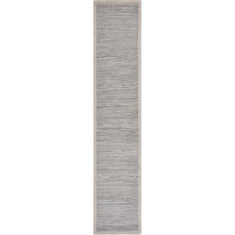 "Bordered Light Gray Table Runner - 1'-4"" X 6'-8"""
