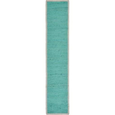 "Bordered Turquoise Table Runner - 1'-4"" X 6'-8"""