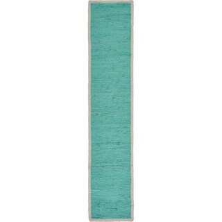 """Bordered Turquoise Table Runner - 1'-4"""" X 6'-8"""""""