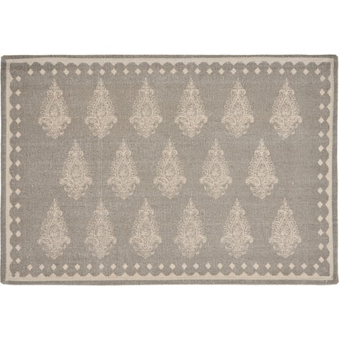 "Gray Fairytale Motif Bordered Place Mat - 1'-1"" X 1'-7"""