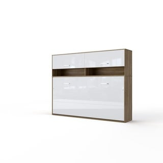 Invento Horizontal Wall Bed, European Queen Size with a cabinet on top