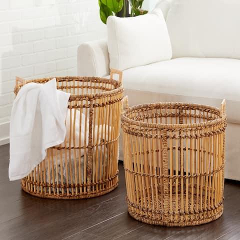 Studio 350 Large Birdcage-Shaped Natural Bamboo Baskets w/ Banana Leaf Detail