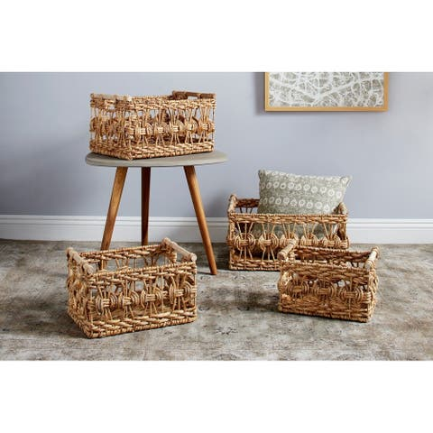 Studio 350 Rectangular Handwoven Water Hyacinth Wicker Baskets w/ Wooden Handles, Set of 4