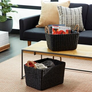 Studio 350 Rectangular Handwoven Black Water Hyacinth Wicker Baskets w/ Handles | Set of 2