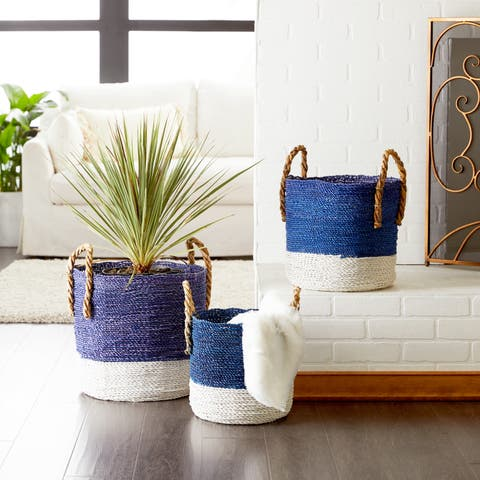 Studio 350 Large Royal Blue & White Block Color Seagrass Baskets Set of 3