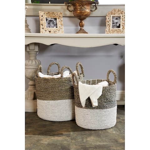 Studio 350 Large Round Gray & White Color-Blocked Seagrass Baskets