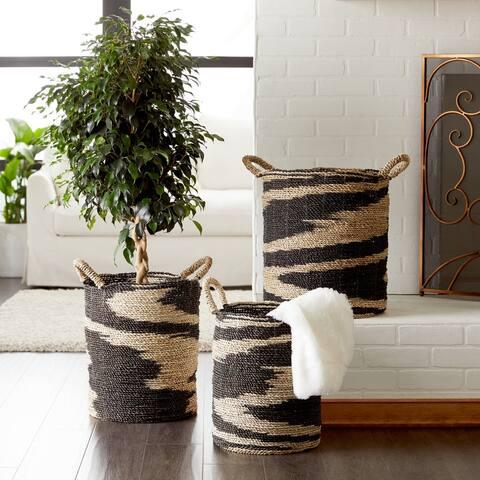 Studio 350 Large Round Black & Natural Swirl Seagrass Baskets