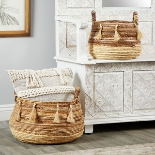 Link to Studio 350 Round Natural Brown & Beige Banana Leaf Baskets w/ Beads & Tassels, Set of 2 Similar Items in Decorative Accessories