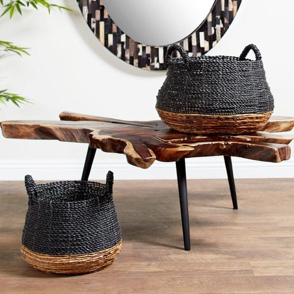 Studio 350 Large, Round Gray & Natural Color-Blocked Banana Leaf Storage Baskets. Opens flyout.