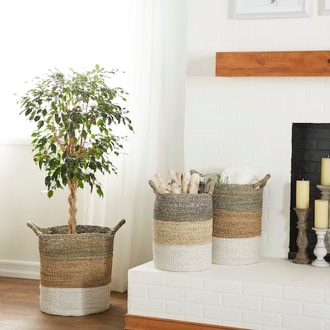 Studio 350 Large Round Gray, Natural and White Color-Blocked Seagrass Baskets, Set of 3