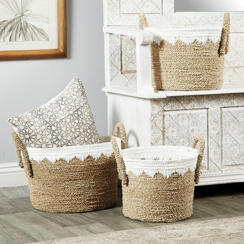 The Curated Nomad Rodgers 3-piece Round Seagrass Baskets with Smocked Cotton Detail