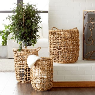 Studio 350 Natural Brown Banana Leaf Storage Baskets w/ Weave Diamond Design