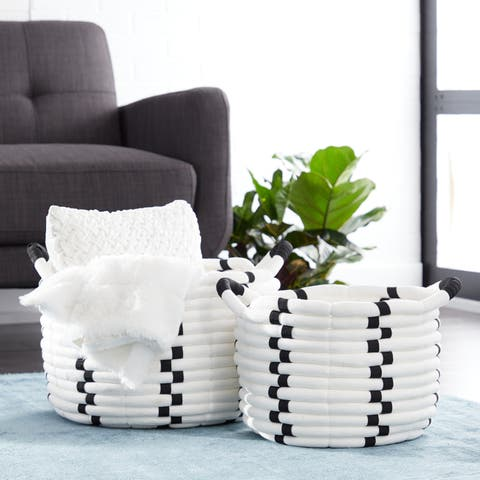 Studio 350 Large Round Black & White Checkered Cotton Rope Storage Baskets, Set of 2