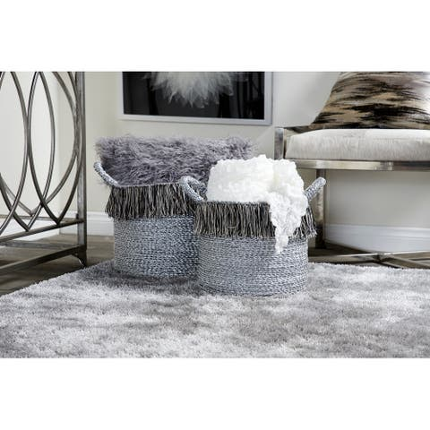 Studio 350 Round Metallic Silver Aluminum Foil Storage Baskets with Yarn Tassels, Set of 2