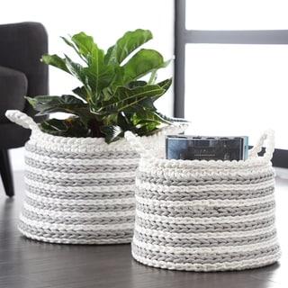 Studio 350 Large Round Striped Gray Mesh & White Cotton Rope Storage Baskets, Set of 2