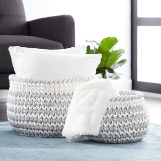 Studio 350 Round Gray Mesh & White Cotton Rope Chevron Pattern Storage Baskets, Set of 2
