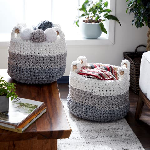 Studio 350 Round White, Gray & Blue Striped Cotton Rope Baskets w/ Wood Handles, Set of 2