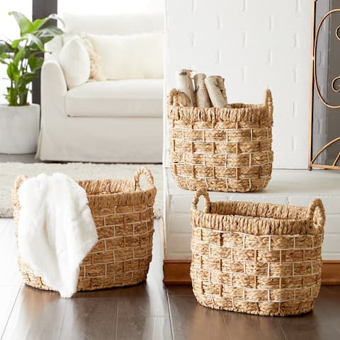 Studio 350 Large Handmade Oval Water Hyacinth Wicker Storage Baskets, Set of 3