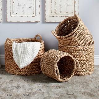 Studio 350 Large Round Natural Water Hyacinth Wicker Storage Baskets, Set of 4