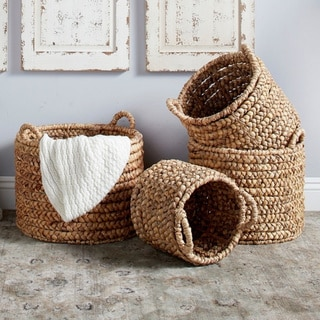 The Curated Nomad Rodgers 4-piece Round Water Hyacinth Wicker Baskets Set