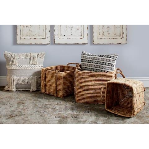 Studio 350 Large Square Water Hyacinth Wicker Storage Baskets, Natural, Set of 3