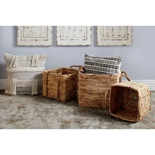 Studio 350 Large Square Water Hyacinth Wicker Storage Baskets, Natural, Set of 3