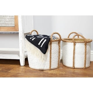Studio 350 Natural and White Dip-Dyed Round Palm Leaf Wicker Storage Baskets, Set of 3