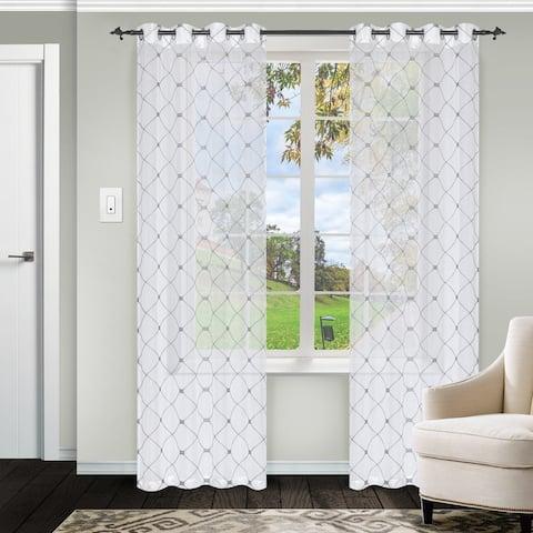 Miranda Haus Jacot Sheer Grommet Curtain Panel Pair