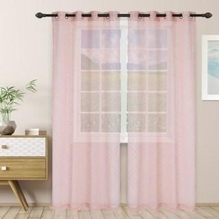 """Link to Miranda Haus Austen Sheer Grommet Curtain Panel Pair in Rust - 52"""" x 96""""- (As Is Item) Similar Items in As Is"""