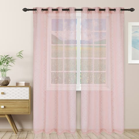 Miranda Haus Austen Sheer Grommet Curtain Panel Pair