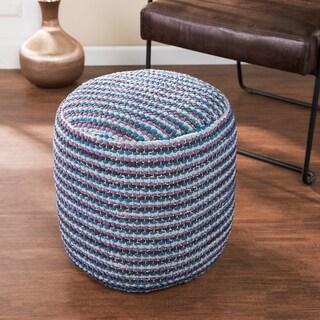 Padget Eclectic Multicolor Fabric Pouf