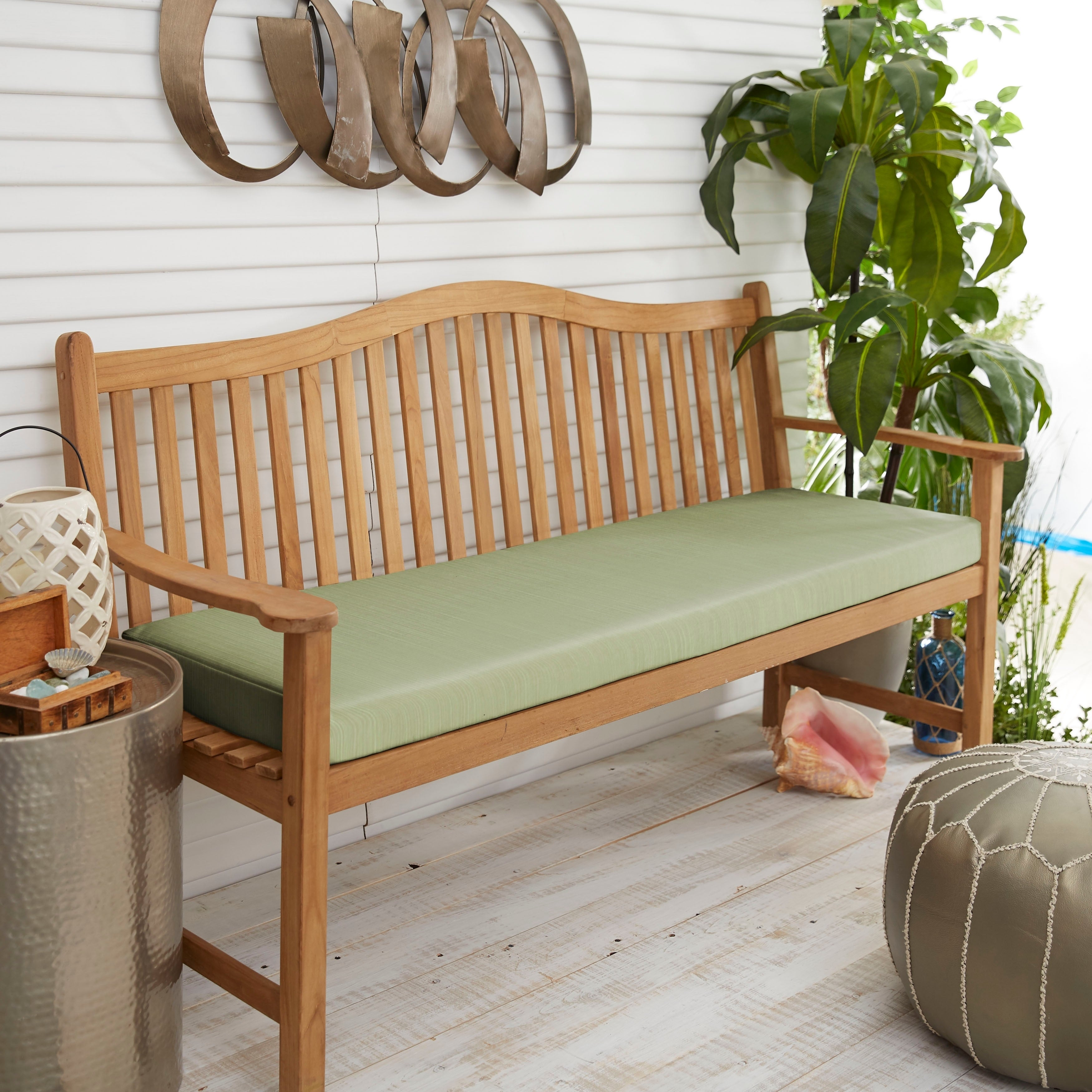 Shop Black Friday Deals On Sunbrella Textured Green Indoor Outdoor Bench Cushion 48 In W X 19 In D Overstock 28889978