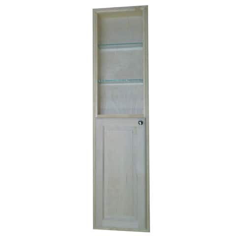 Baldwin recessed pantry storage cabinet with open shelf